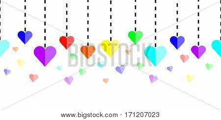 Horizontally seamless rainbow hearts with dashed lines on white background. Colorful repeating background for website headers and banners. Vector