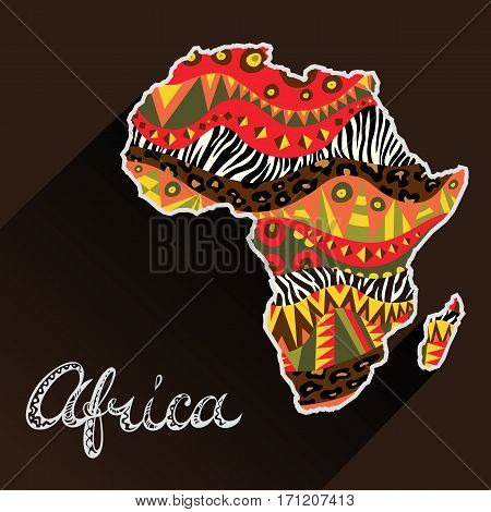Africa ornate continent and hand drawn title. Doodle style freehand lettering. Abstract map element with fancy tribal ornament. Vector illustration.