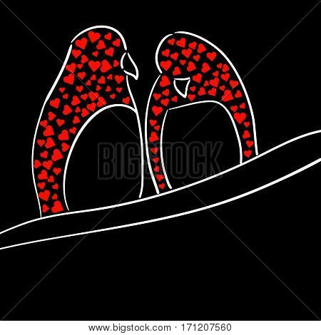 White stylized silhouettes of two birds with red hearts on black background. For Saint Valentine's Day poster or postcard. Couple of birds sitting on a branch. Place for text. Hand drawn illustration. Vector