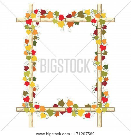 Autumn composition with colorful leaves of ivy and virginia creeper. Rectangular border from bamboo with half tone effect. Copy space. Vector illustration.