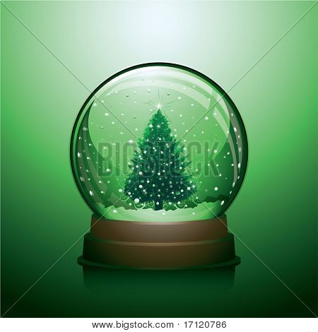 Realistic Christmas snow globe with christmas tree within