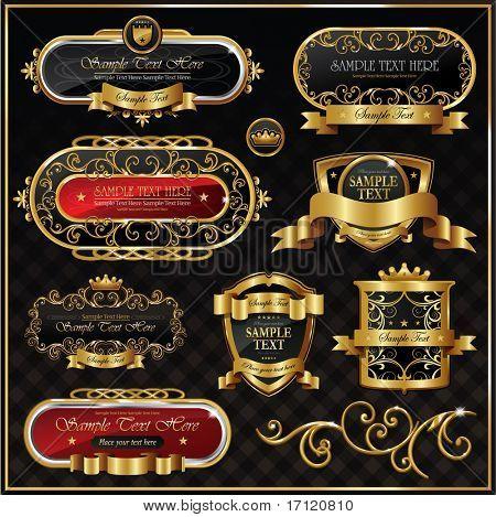 Marco Vintage vector de oro sobre fondo negro