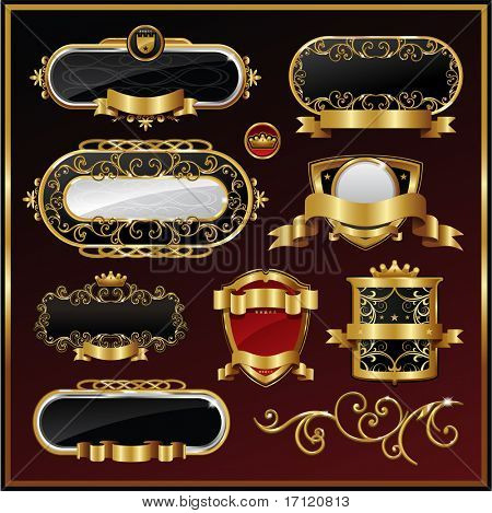 Vector vintage gold frame packing