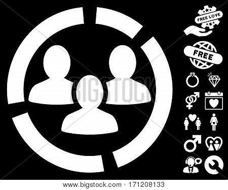 Demography Diagram pictograph with bonus lovely images. Vector illustration style is flat iconic white symbols on black background.