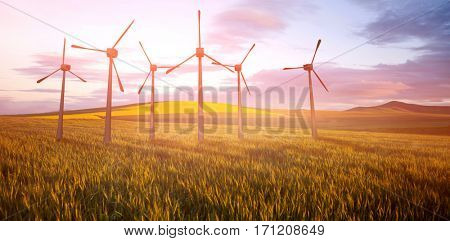 Windmills side by side against white background against scenic view of wheat field 3d