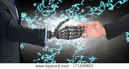 Hand presenting against cropped image of businessman with robot hand
