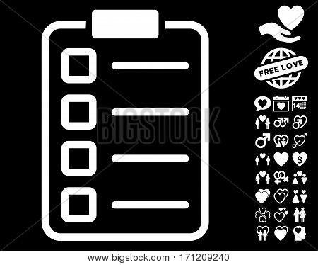 Examination icon with bonus decoration icon set. Vector illustration style is flat iconic white symbols on black background.