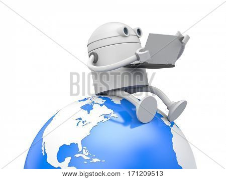 Robot works on a laptop sitting on the globe