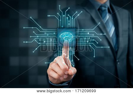 Artificial intelligence (AI), data mining, expert system software, machine and deep learning and another modern computer technologies concepts. Brain representing artificial intelligence with printed circuit board (PCB) design.