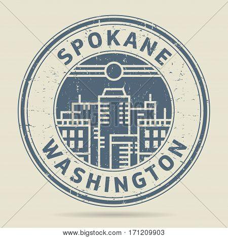 Grunge rubber stamp or label with text Spokane Washington written inside vector illustration