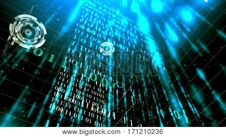 Abstract futuristic binary code walls background. 3D rendering