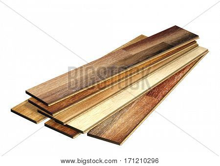 New oak parquet of different colors. Isolated on white background. 3d render