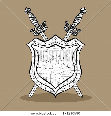 Medieval cold arms. Two crossed ornate hand drawn sabers and abstract shield vintage elements. Hipster style. Design template for logo or emblem. Vector illustration.