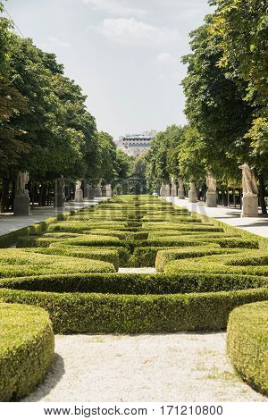 Madrid (Spain): gardens in the Park of Buen Retiro