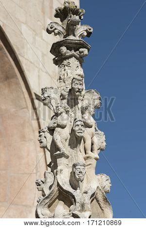 Burgos (Castilla y Leon Spain): exterior of the medieval cathedral in gothic style. Detail of statue