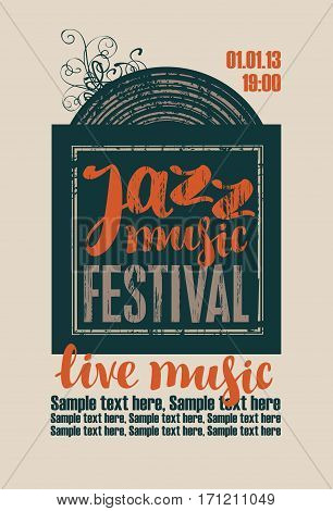 poster for the jazz festival with vinyl record