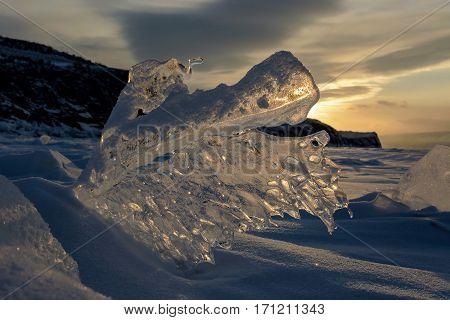 Sunset. Blocks Of Ice Of Baikal