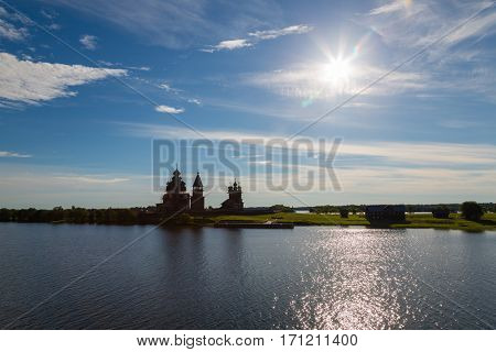 Early morning on the famous island of Kizhi in Lake Onega in Karelia in the north of Russia.