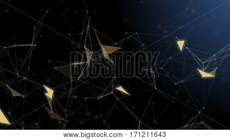 Plexus abstract technology and engineering background. 3D rendering.