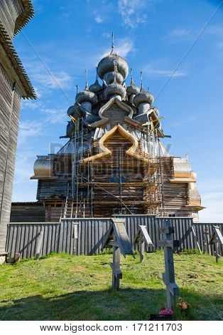 Architectural Building Kizhi Pogost of the wood located on the Kizhi island, built in the XVIII-XIX centuries. Karelia, north of Russia.