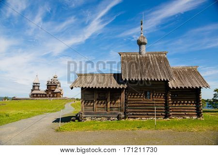 Architectural building of wood is located on the Kizhi island, built in the XVIII-XIX centuries. Karelia, north of Russia.