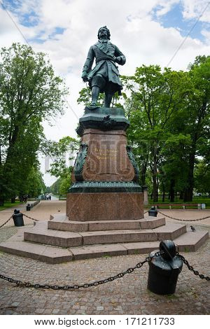 Monument to Russian emperor Peter the Great in Kronstadt. Made and installed in 1841.
