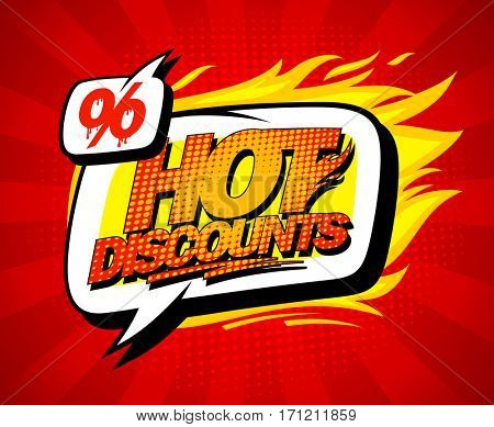 Hot discounts sale illustration in pop-art style, bright red backdrop and speech bubble, rasterized version