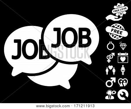 Labor Market icon with bonus marriage images. Vector illustration style is flat iconic white symbols on black background.