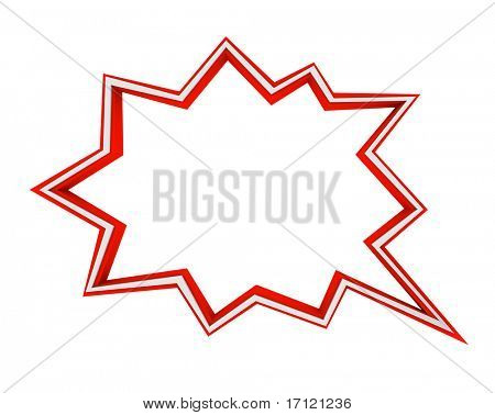 A red and white comic book speech bubble - star burst