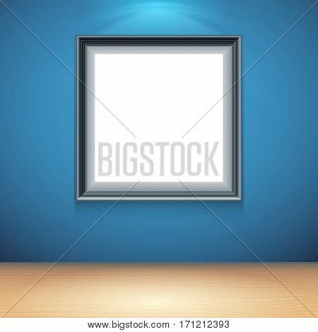 Blank white poster on blue wall in museum or gallery interior. Poster mock-up template