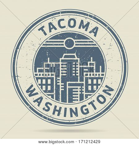 Grunge rubber stamp or label with text Tacoma Washington written inside vector illustration