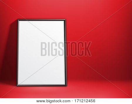 Blank white paper poster in thin black frame on red background. Poster mock-up template