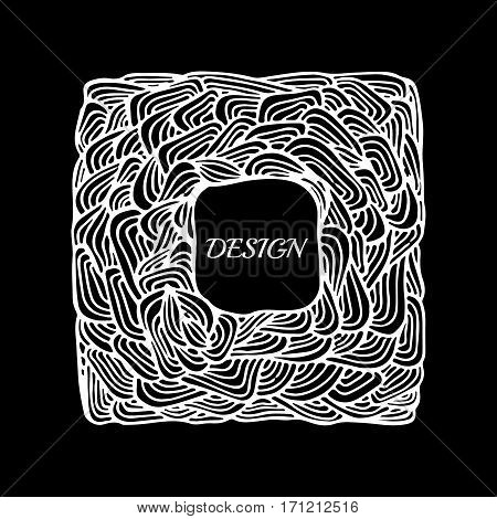 stock vector abstract hand draw black and white wave doodle pattern. oriental or arabic art background