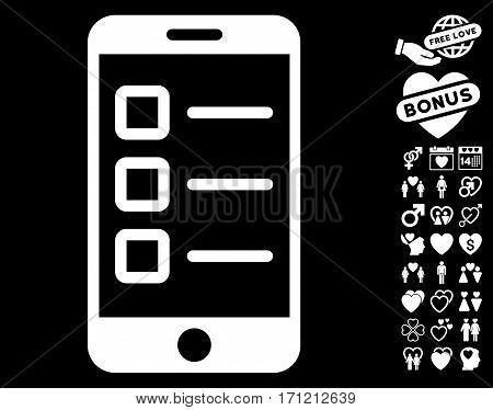 Mobile Test pictograph with bonus valentine images. Vector illustration style is flat iconic white symbols on black background.