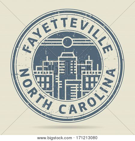 Grunge rubber stamp or label with text Fayetteville North Carolina written inside vector illustration