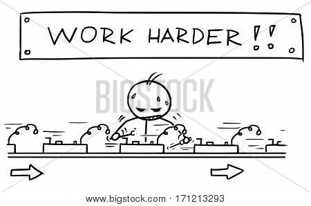 Cartoon vector doodle stickman worker working on fast assembly line with large text signeabove his head