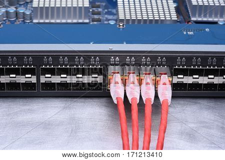 Technology Devices Network Switch with Ethernet Cables