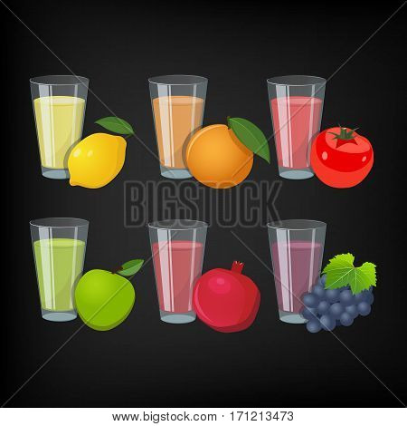 Glasses with juice and fruit. (Lemon orange tomato apple pomegranate grapes)