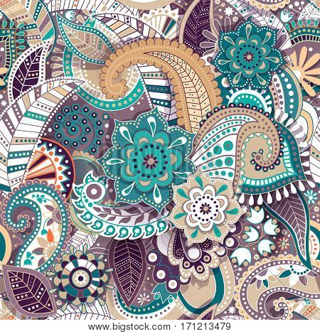 Colorful Paisley seamless pattern. Original decorative backdrop.