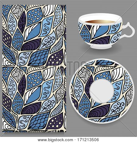 vector seamless orient floral pattern with cup and plate. russian design