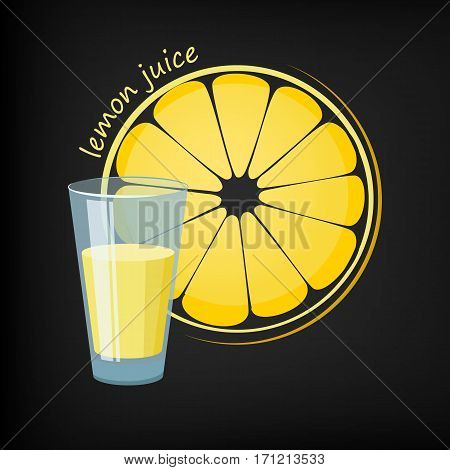 Glass of lemon juice and a slice of lemon in the background