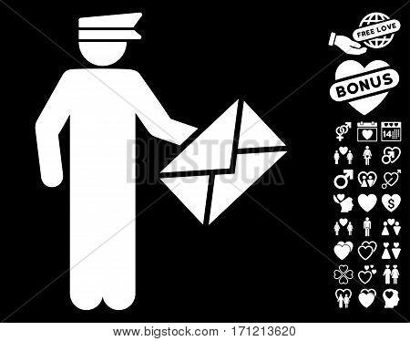 Postman pictograph with bonus romantic symbols. Vector illustration style is flat iconic white symbols on black background.