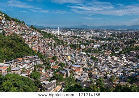 Aerial View of Rio de Janeiro Slums on the Hills