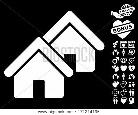 Realty icon with bonus amour pictograms. Vector illustration style is flat iconic white symbols on black background.