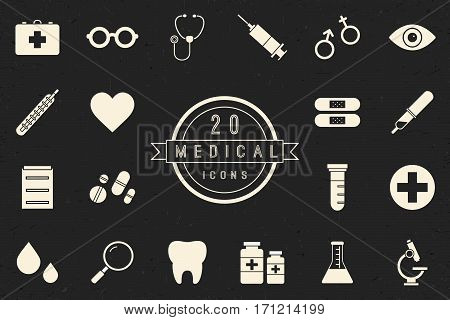 Flat monochrome medical icon set in vintage style. Isolated medical icon set of medicine tools and services. Black and white vector medical icon set for web sites and apps.
