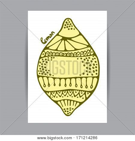 Stock vector cartoon hand draw corporate identity vertical banner with isolated lemon. background. template for card