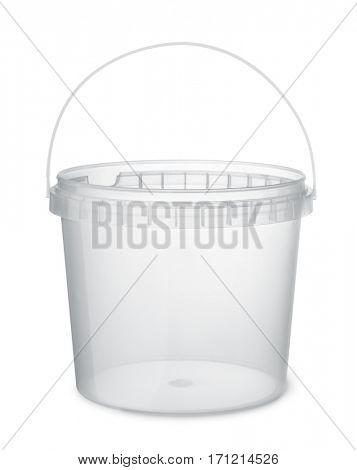 Clear plastic food bucket isolated on white