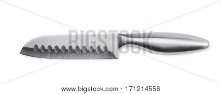 Stainless steel santoku knife isolated on white