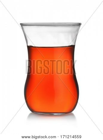 Front view of turkish tea glass isolated on white