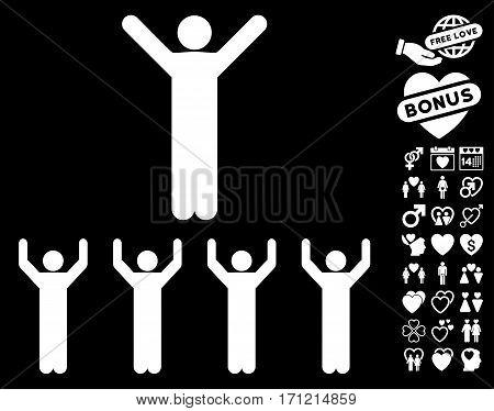 Religion pictograph with bonus valentine icon set. Vector illustration style is flat iconic white symbols on black background.